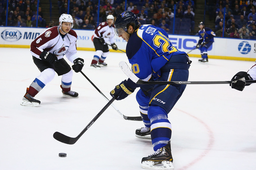 . ST. LOUIS, MO - NOVEMBER 14:  Alexander Steen #20 of the St. Louis Blues moves the puck against the Colorado Avalanche at the Scottrade Center on November 14, 2013 in St. Louis, Missouri.  (Photo by Dilip Vishwanat/Getty Images)