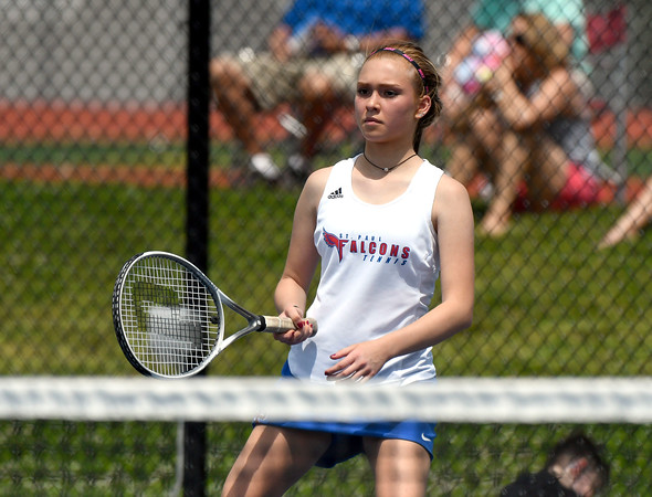 5/26/2018 Mike Orazzi   Staff St. Paul Catholic High Schools Carina Fiscella during the 2018 Class S Girls Tennis Tournament with Old Lyme held at Bristol Eastern High School in Bristol Saturday.
