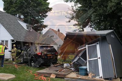 Hicksville F.D. MVA w/ Car Into House 231 Blueberry Ln.  6/23/14