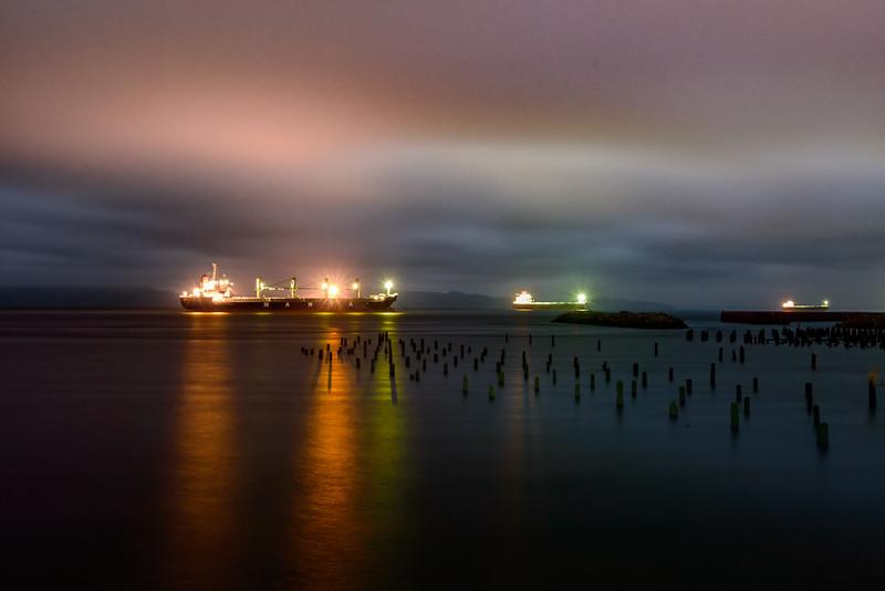 Cargo ships on the Columbia River, Astoria, Oregon