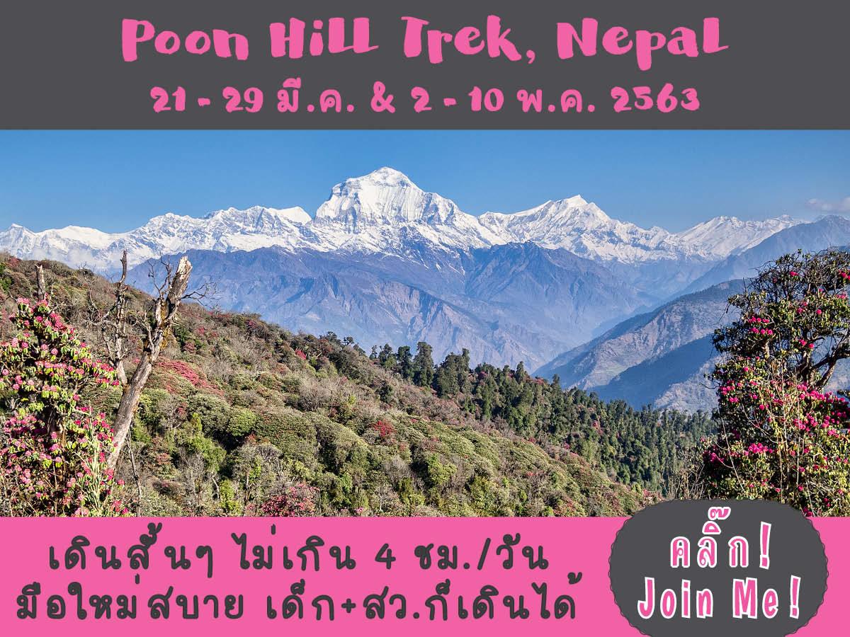 Ghorepani Poon Hill Trek + ไกด์คนไทย | 21 – 29 มี.ค. 2563 | 2 – 10 พ.ค. 2563