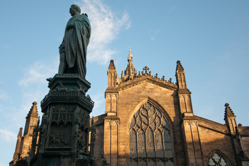 Statue of Scottish economist Adam Smith in front of St Giles Cathedral - Edinburgh, Scotland