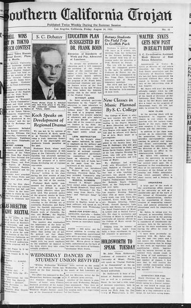Southern California Trojan, Vol. 10, No. 16, August 14, 1931