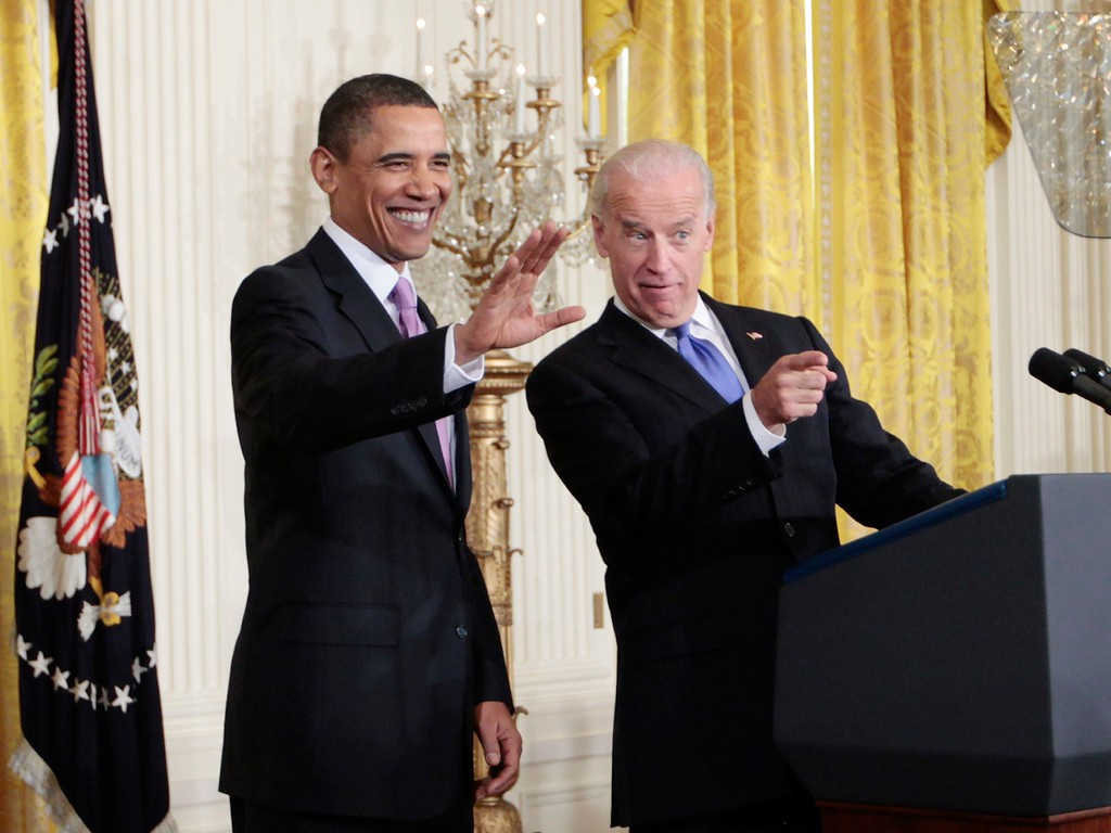 . President Barack Obama and Vice President Joe Biden acknowledge mayors in the audience before they addressed the U.S. Conference of Mayors, Thursday, Jan. 21, 2010,  at the White House in Washington. (AP Photo/Charles Dharapak)