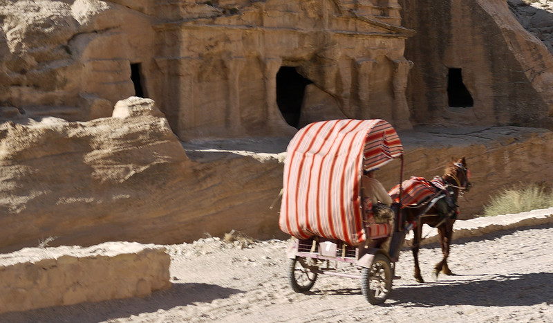 A carriage in front of some of the rock-cut tombs and structures in Petra, Jordan.