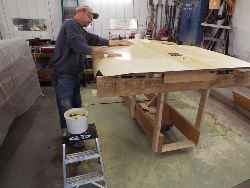 Another view of wet sanding being done.