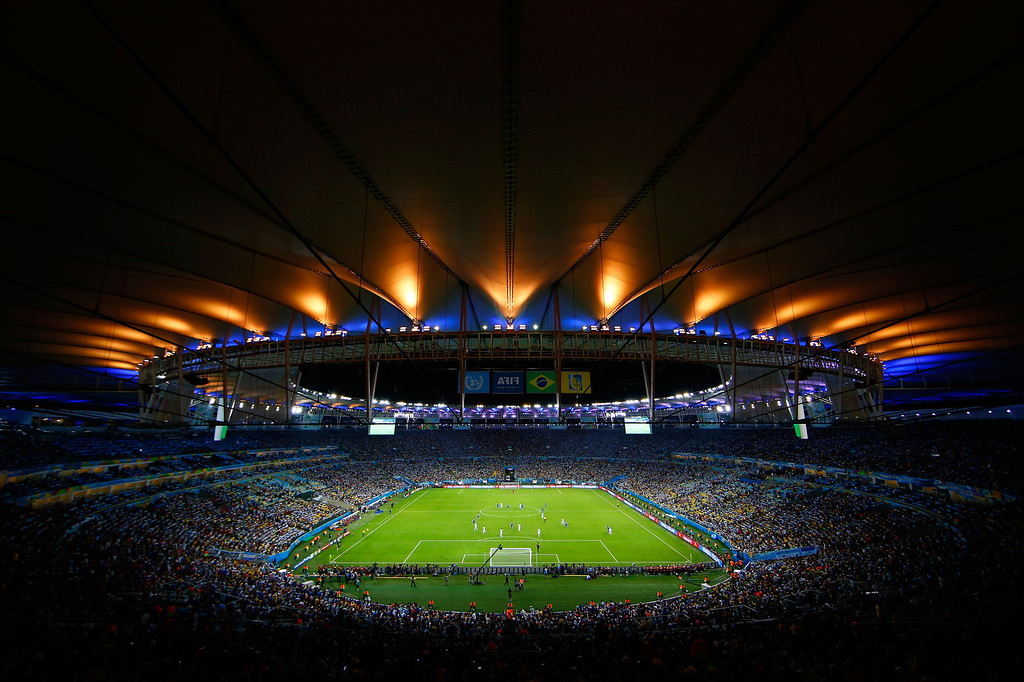 . A genral view of the stadium during the 2014 FIFA World Cup Brazil Group F match between Argentina and Bosnia-Herzegovina at Maracana on June 15, 2014 in Rio de Janeiro, Brazil.  (Photo by Clive Rose/Getty Images)