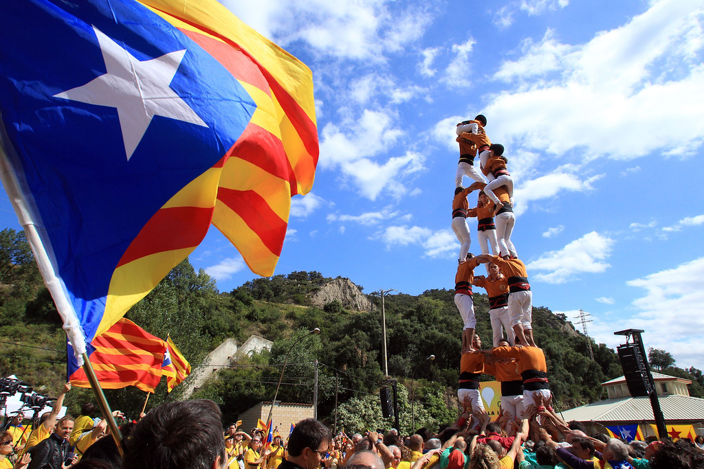 . Activists calling for the independance of Catalonia, currently a region of Spain, form a human pyramid during a protest on September 11, 2013, in Perthus, southern France. Independence-seeking Catalans marshalled their forces today for a 400-kilometre (250-mile) human chain in a bold push to break from Spain despite fierce opposition from Madrid. RAYMOND ROIG/AFP/Getty Images