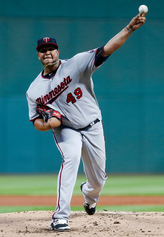 . Minnesota Twins starting pitcher Adalberto Mejia delivers against the Cleveland Indians during the first inning of a baseball game, Wednesday, Sept. 27, 2017, in Cleveland. (AP Photo/Ron Schwane)
