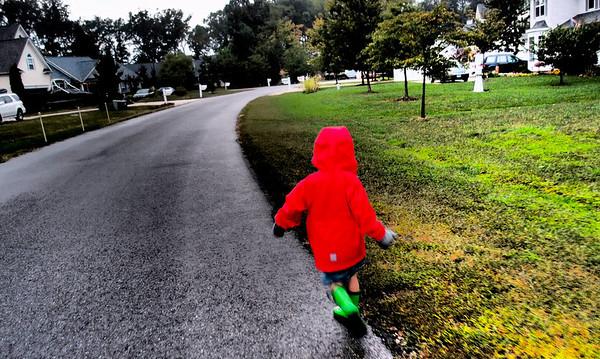 Matthew running in rain XZ-1
