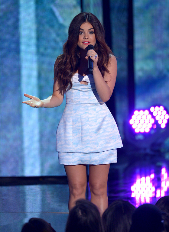 . Presenter Lucy Hale speaks on stage at the Teen Choice Awards at the Gibson Amphitheater on Sunday, Aug. 11, 2013, in Los Angeles. (Photo by John Shearer/Invision/AP)