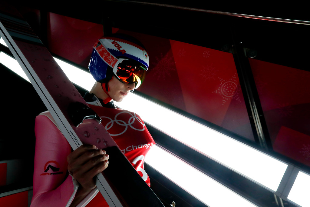 . Viktor Polasek, of the Czech Republic, waits to jump during training for the men\'s large hill individual ski jumping competition at the 2018 Winter Olympics in Pyeongchang, South Korea, Wednesday, Feb. 14, 2018. (AP Photo/Matthias Schrader)