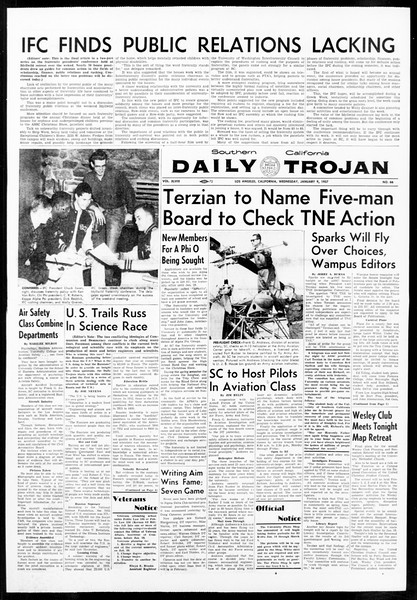 Daily Trojan, Vol. 48, No. 66, January 09, 1957