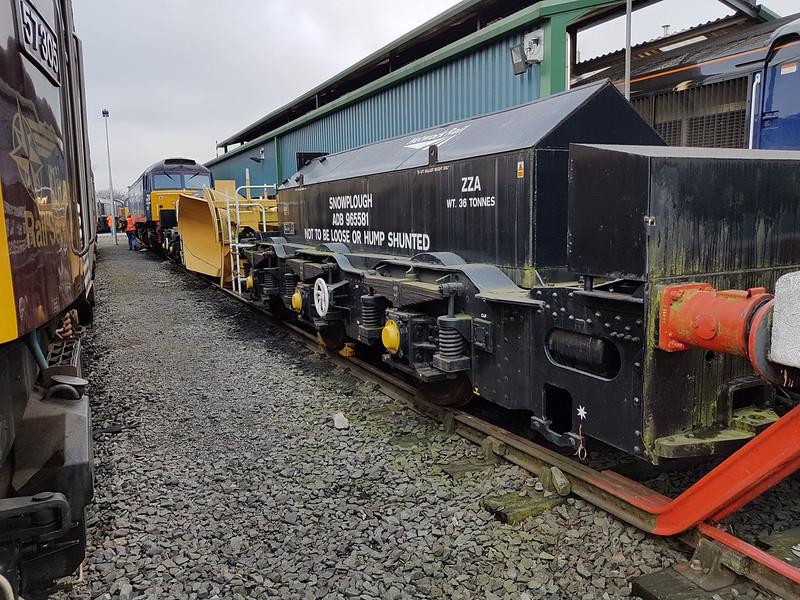 ZZA Snowplough ADB965581 ex Class 40 Bogie, Gresty Bridge  21/01/17
