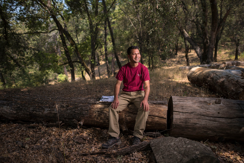 Badri Ghimire is a biology graduate student working on research of the impacts of deer grazing of manzanita plants at the Big Chico Creek Ecological Reserve on Tuesday, August 1, 2017 in Chico, Calif. (Jason Halley/University Photographer)