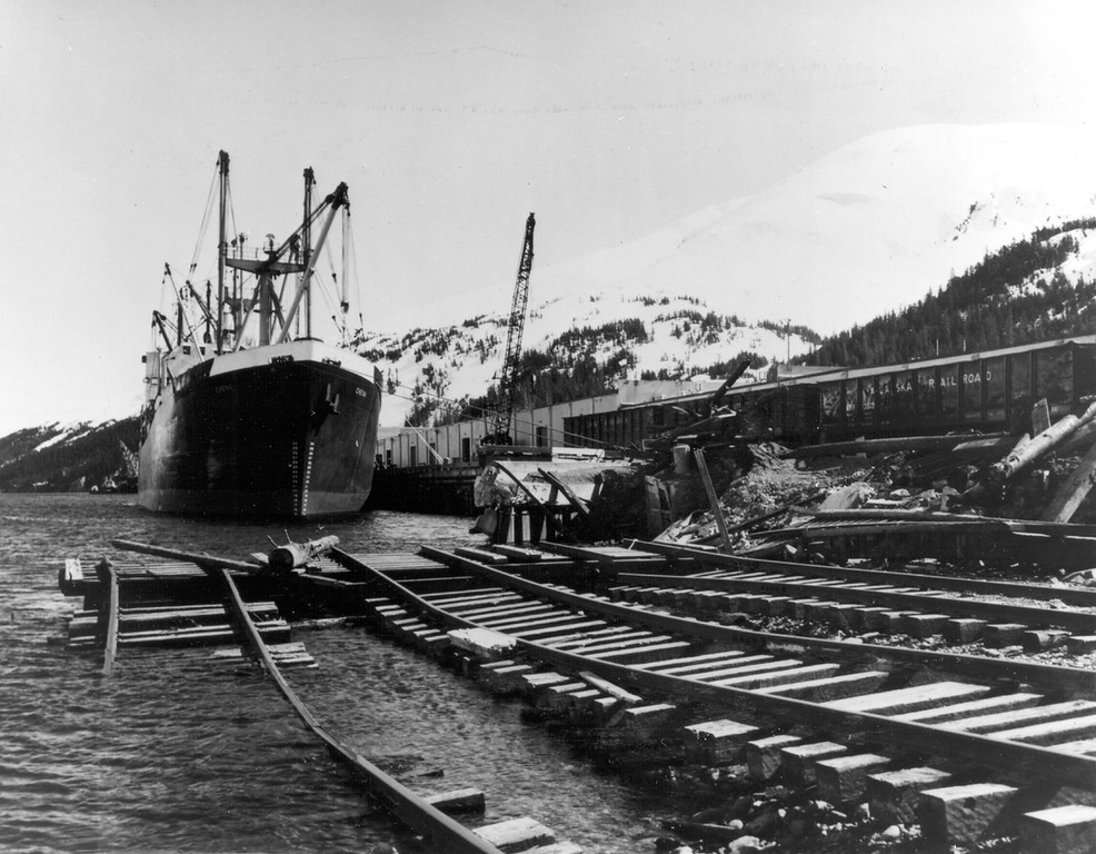 . Alaska Earthquake March 27, 1964. Fire, wave, and submarine slide damage to railroad and port facilities at Whittier. Photo by U.S. Army, U.S. Geological Survey