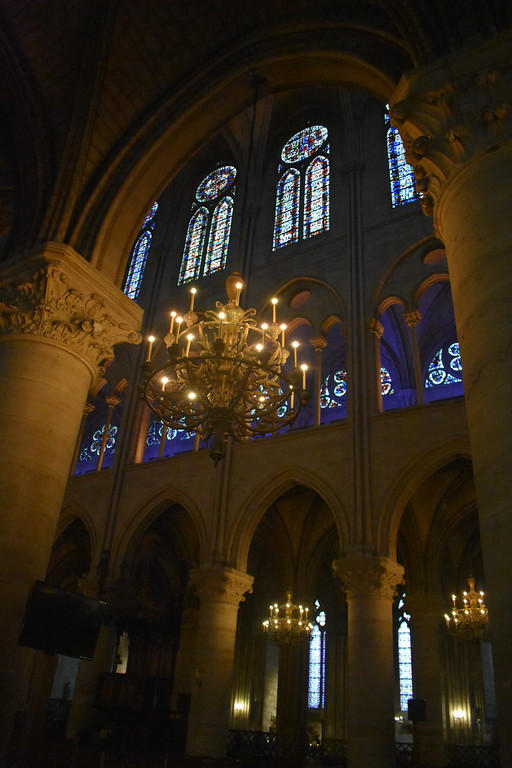 Interior of Notre Dame Cathedral in Paris, France
