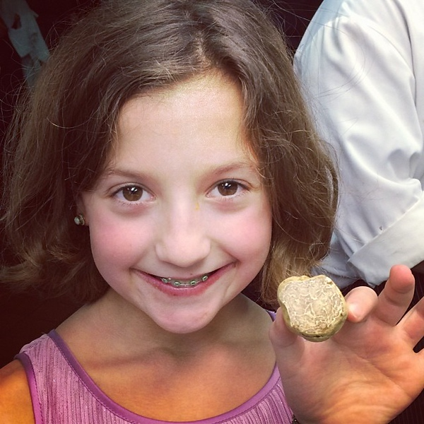 When @giuseppetentori lets Kayla in the kitchen, she goes right for the white truffles. #lovemydaughter