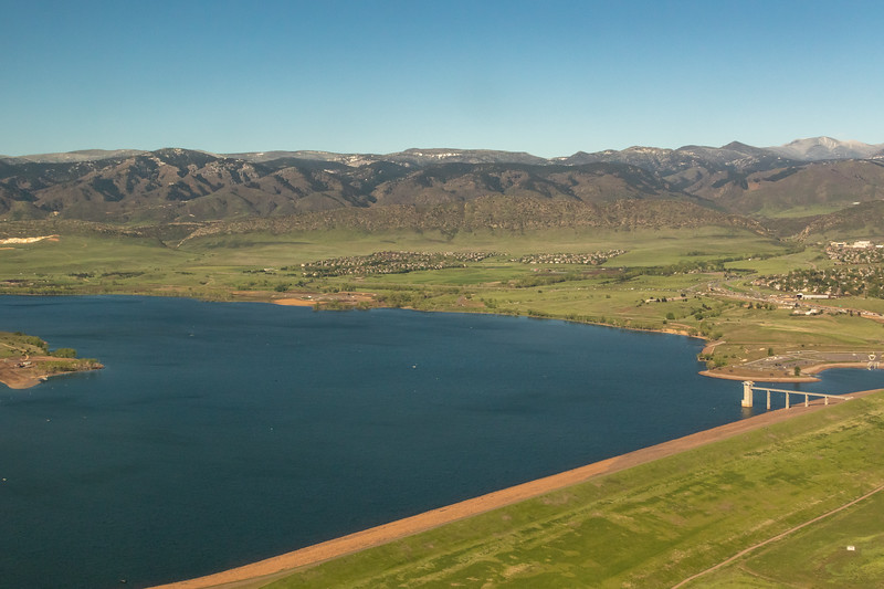 Aerial view of Chatfield Reservoir on May 24, 2019. Photo by Mitch Tobin, The Water Desk, with aerial support provided by LightHawk.