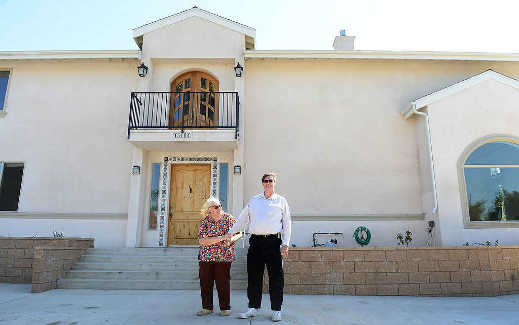 """. Jim Crabtree and his wife Rita Delehanty show their green home \""""Steel Memories\"""" in Hacienda Heights Friday, April 19, 2013. The steel home was completed in 2011. (SGVN/Staff Photo by Sarah Reingewirtz)"""