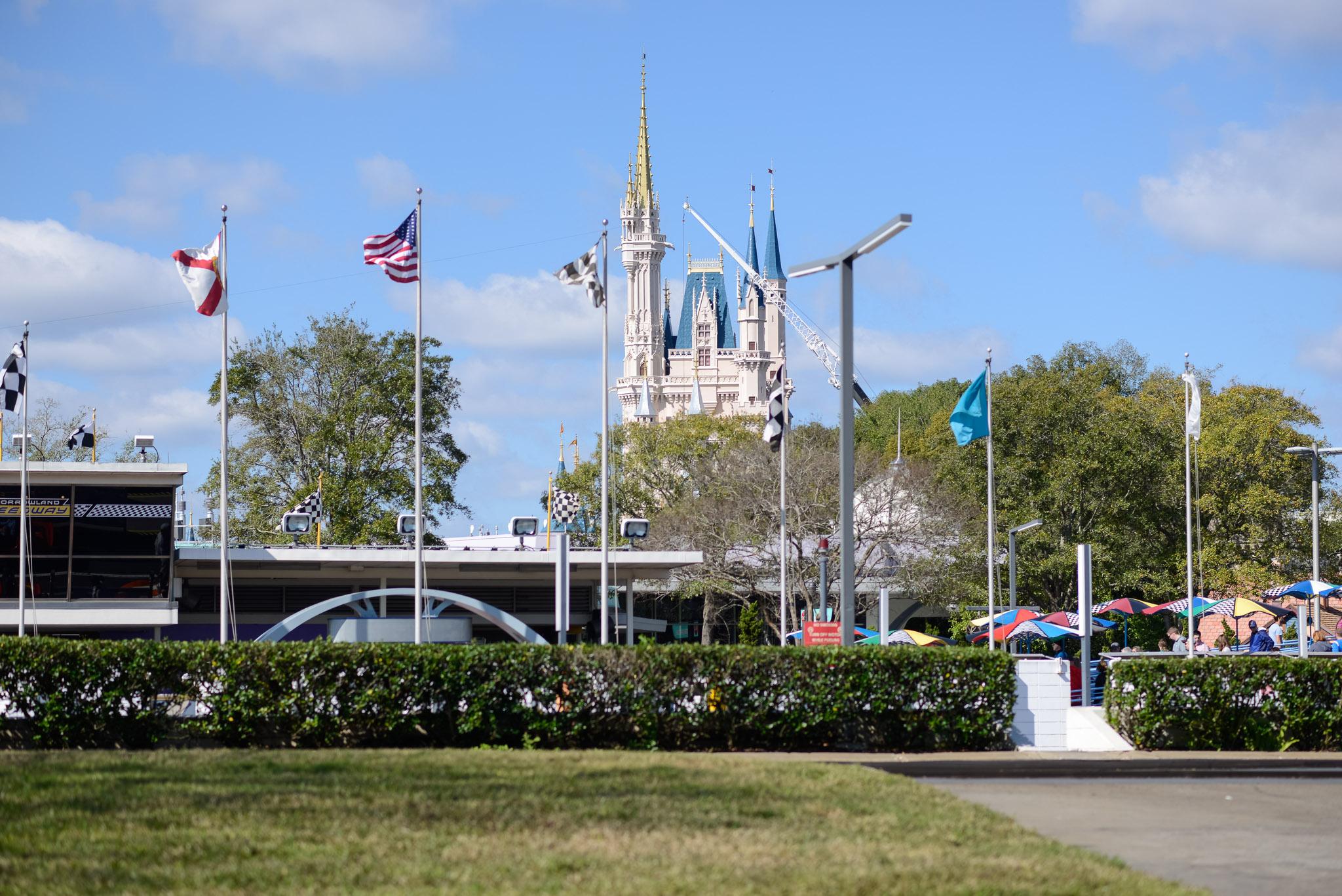 Cinderella Castle from Speedway - Walt Disney World Magic Kingdom