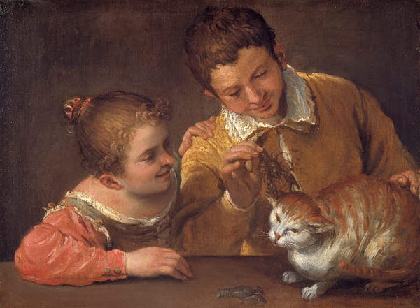 1590 Annibale Carracci Two Children Teasing a Cat oil on canvas 66 x 88.9 cm The Metropolitan Museum of Art, New York City.jpg