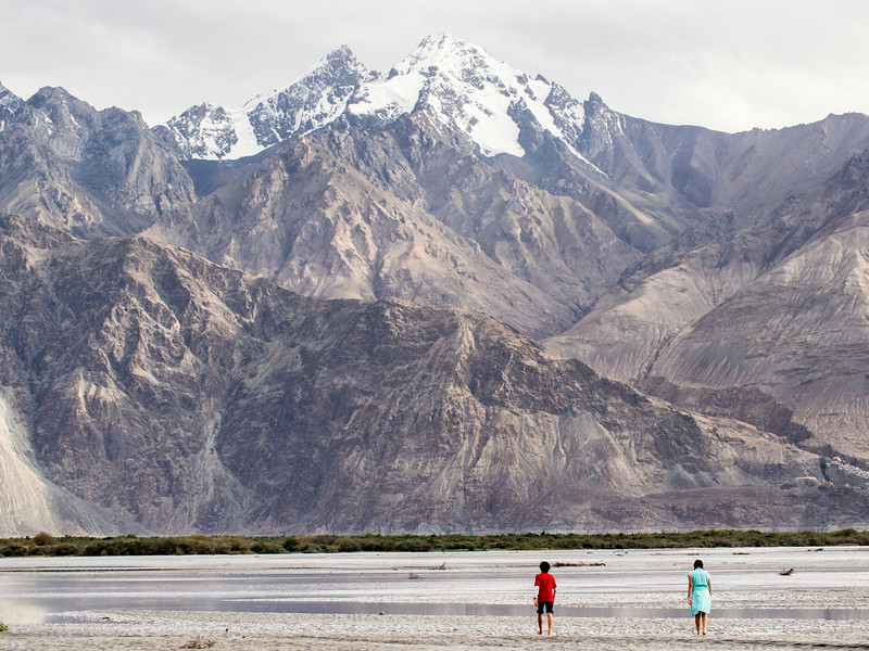 Playing in the Nubra river near its confluence with Shyok river