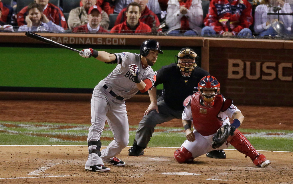 . Boston Red Sox\'s Jacoby Ellsbury strikes out swinging to end the top of the fifth inning of Game 5 of baseball\'s World Series against the St. Louis Cardinals Monday, Oct. 28, 2013, in St. Louis. (AP Photo/Charlie Riedel)