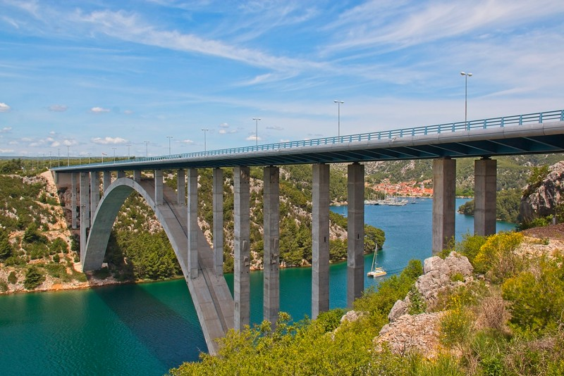 Stop at the Sibenik Bridge, Croatia