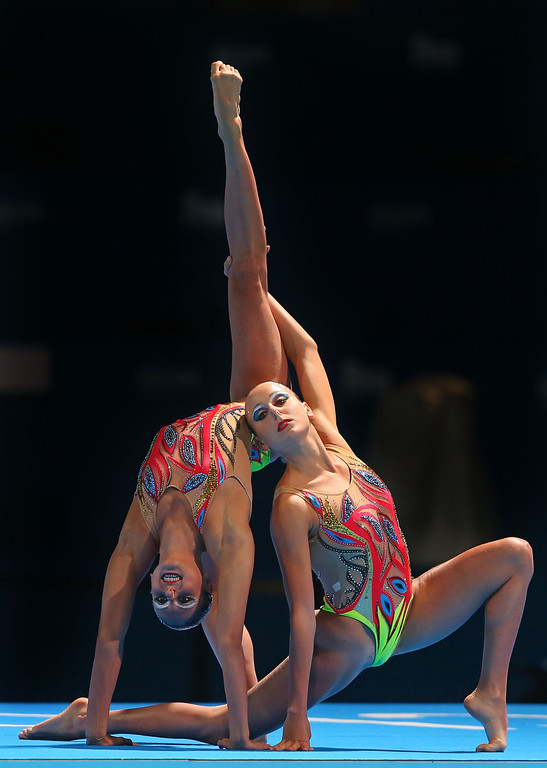 . Linda Cerruti and Francesca Deidda of Italy compete in the Synchronized Swimming Free Combination final on day two of the 15th FINA World Championships at Palau Sant Jordi on July 21, 2013 in Barcelona, Spain.  (Photo by Alexander Hassenstein/Getty Images)