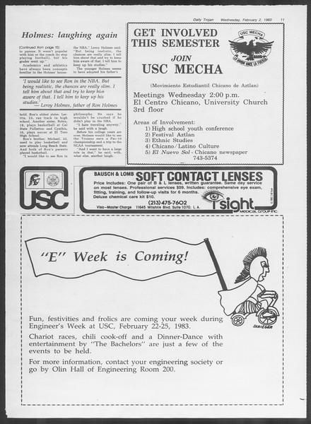 Daily Trojan, Vol. 93, No. 16, February 02, 1983
