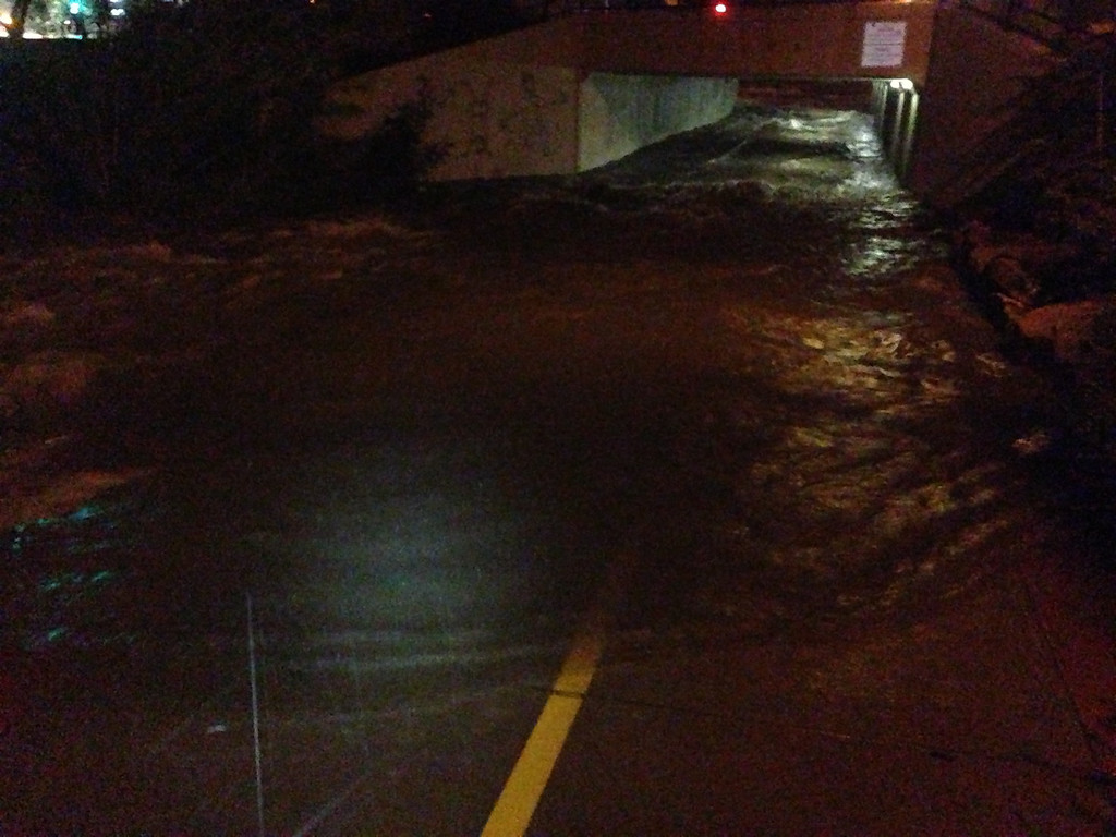 . Flooding under Broadway and Table Mesa. Photo by Mike Topping