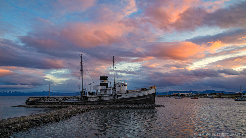 The St. Christopher - an abandoned rescue tugboat grounded in the harbor of Ushuaia, Argentina.