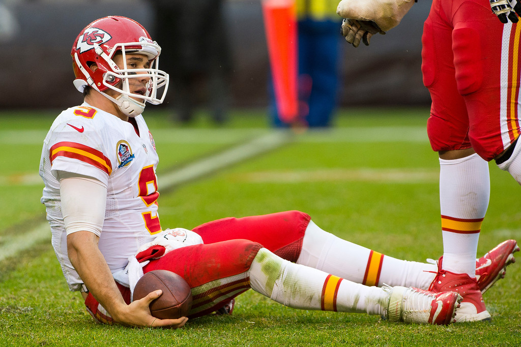 . CLEVELAND, OH - DECEMBER 09: Quarterback Brady Quinn #9 of the Kansas City Chiefs sits on the ground after being sacked during the second half against the Cleveland Browns at Cleveland Browns Stadium on December 9, 2012 in Cleveland, Ohio. The Browns defeated the Chiefs 30-7. (Photo by Jason Miller/Getty Images)