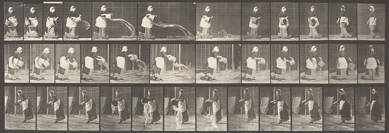 Draped woman emptying a bucket of water (Animal Locomotion, 1887, plate 404)