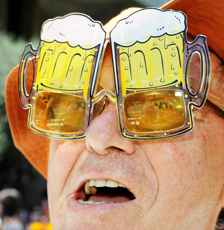 . Wearing Beer Sunglasses, Mike Vondrus, Manager of Fabrication & Engineering Service at Caltech, cheered for 11 of his students who received degrees at the 120th Annual Commencement at California Institute of Technology Friday, June 13, 2014.(Photo by Walt Mancini/Pasadena Star-News)