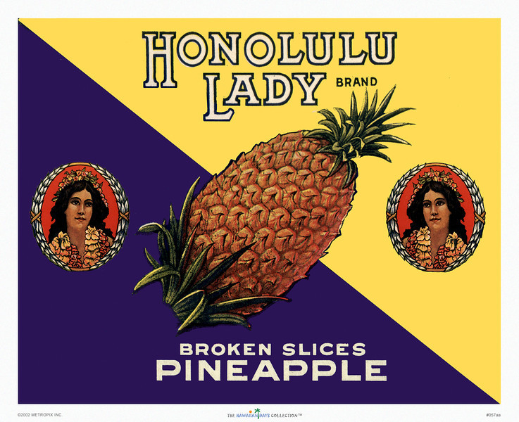 "057: ""Honolulu Lady"" Pineapple can label, ca 1945"