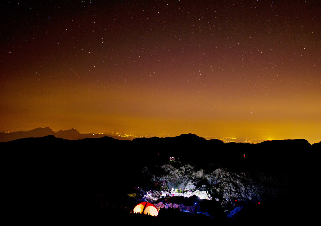 . The camp of the  mountain rescue service  next to the entrance of the Riesending cave near Marktschellenberg, southern Germany,  photographed early Thursday June  19., 2014.  (AP Photo/dpa,Nicolas Armer)