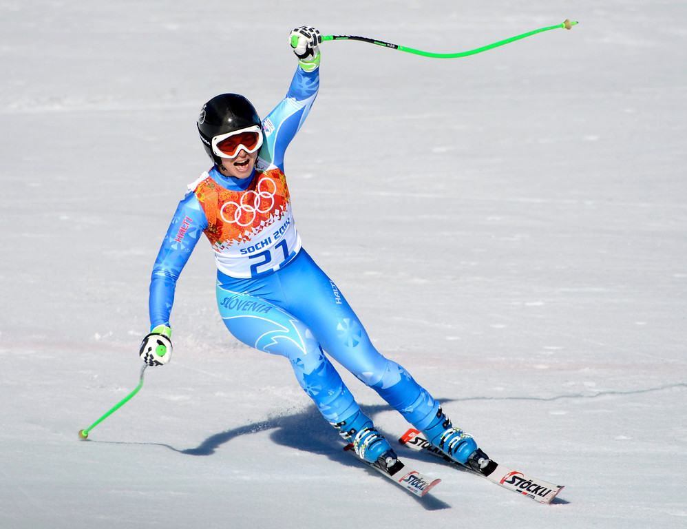 . Slovakia\'s Tina Maze reacts after finishing in the Ladies Downhill at the Rosa Khutor Alpine Center for the 2014 Winter Olympics in Krasnaya Polyana, Russia on Wednesday, Feb. 12, 2014.  Maze tied for gold with Switzerland\'s Dominique Gisin.  (Nhat V. Meyer/Bay Area News Group)
