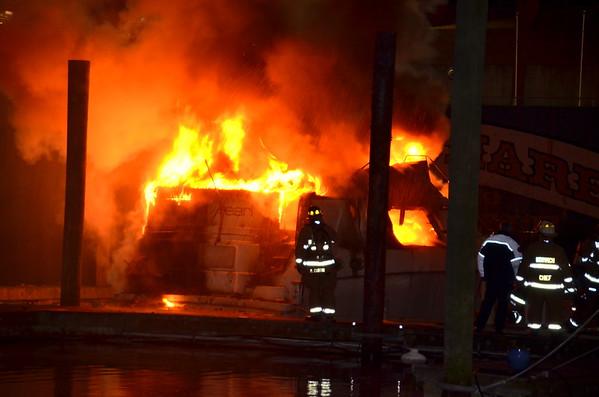 Norwich Ct. Boat Fire Dec 31, 2014