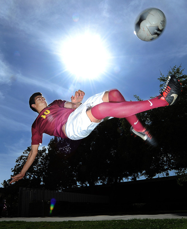 . Adrien Perez of Ontario High School has been named player of the year and to Daily Bulletin\'s All-Valley Boy\'s soccer team. Staff photo by Will Lester