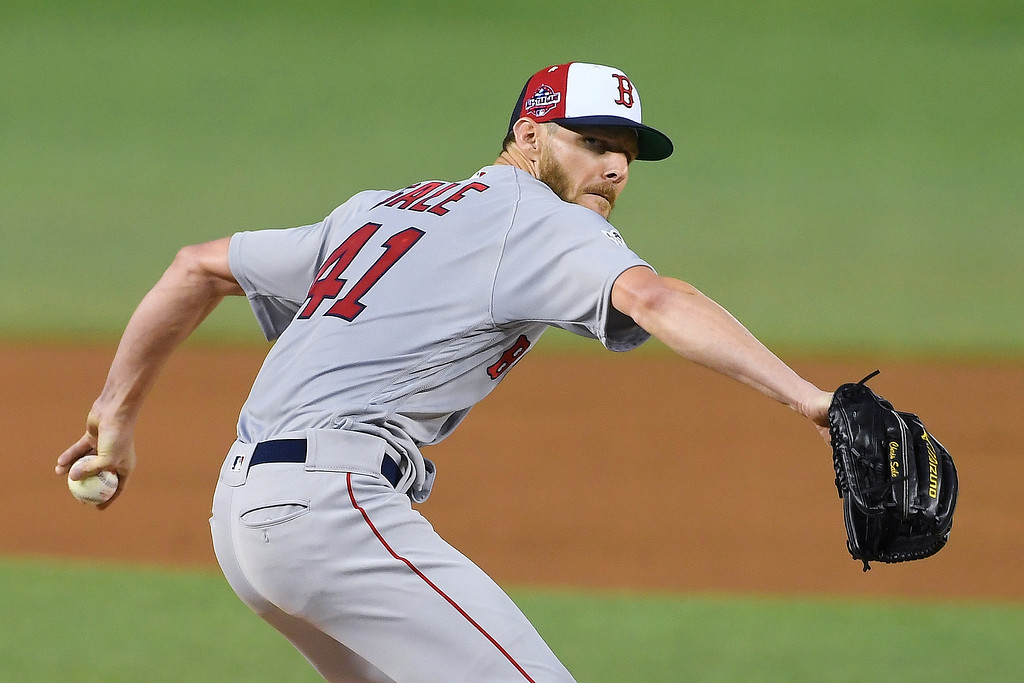 . Boston Red Sox pitcher Chris Sale (41) throws during the first inning of the Major League Baseball All-star Game, Tuesday, July 17, 2018 in Washington. (AP Photo/Nick Wass, Pool)