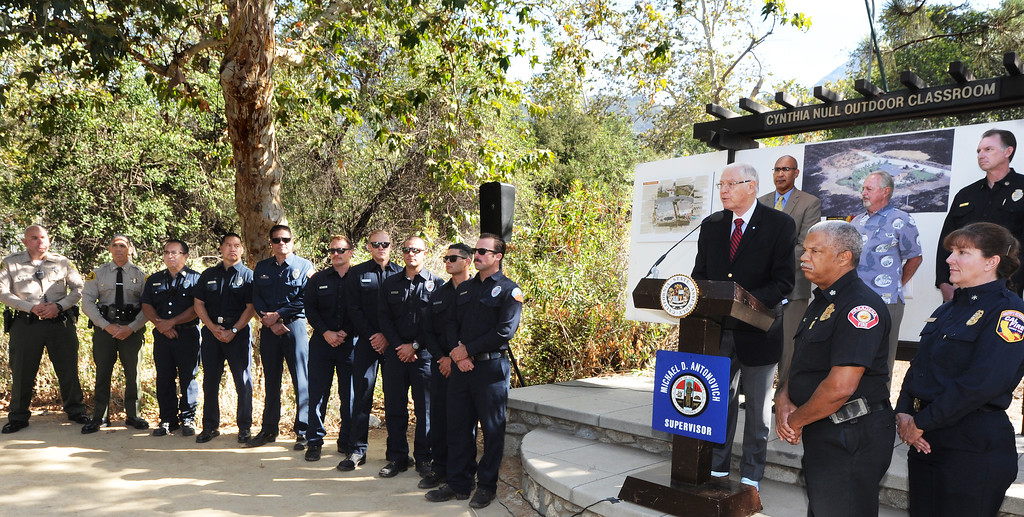 . LA County Supervisor Michael Antonovich speaking at wildfire prevention news conference at Eaton Canyon Nature Center in Pasadena Friday, June 20, 2014. This summer fire season starts Saturday and may be even more fiery than usual, climatologists say. After years of drought, a warmer-than-average fall, winter and spring with 40 percent less rain this year, the Southland could be in for an especially scorching fire season. (Photo by Walt Mancini/Pasadena Star-News)