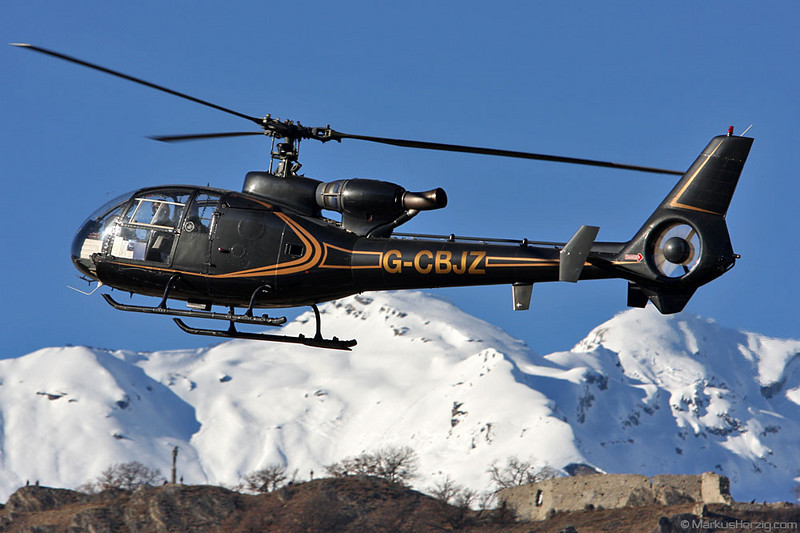 G-CBJZ SA341 Gazelle @ Sion Switzerland 16Jan11