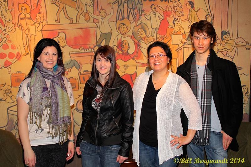 Melody Lovejoy, Stephanie Lloyd, Dahlia Wakefield, Jesse Mast in the Grand Ole Opry green room