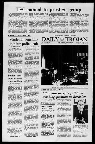 Daily Trojan, Vol. 61, No. 57, December 09, 1969