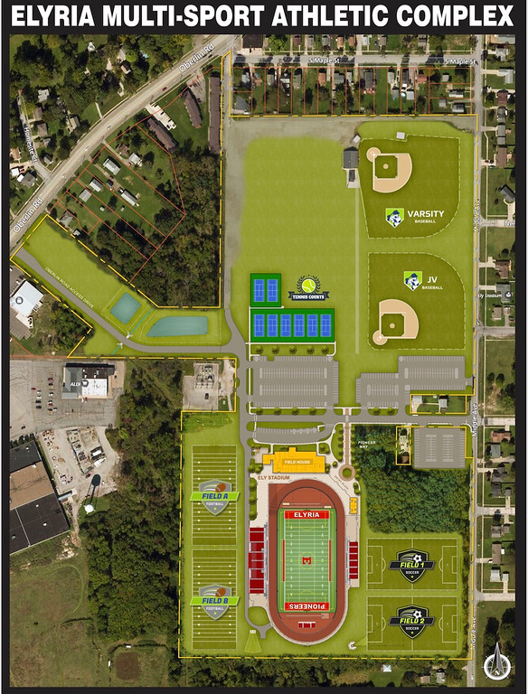 . Rendering of a sky view of new sports complex for Elyria City Schools. (Elyria City School District)