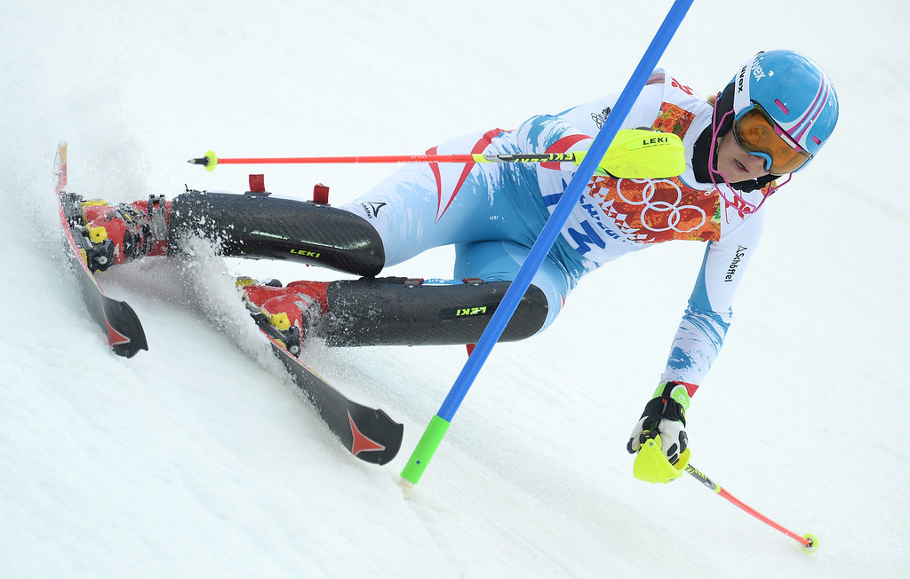 . Michaela Kirchgasser of Austria in action during the first run of the Women\'s Slalom race at the Rosa Khutor Alpine Center during the Sochi 2014 Olympic Games, Krasnaya Polyana, Russia, 21 February 2014.  EPA/VASSIL DONEV