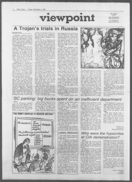 Daily Trojan, Vol. 105, No. 63, December 04, 1987