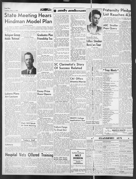 Daily Trojan, Vol. 39, No. 37, November 04, 1947